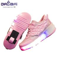 Quality Girls Fabrics LED Casual Shoes Kids Led Light Up Skate Roller Shoes for sale