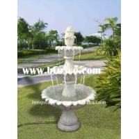 China Red Marble 3 Tiers Garden Stone Water Fountain on sale