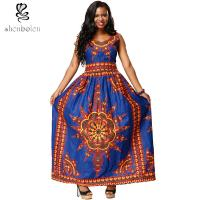 China Sexy Womens Long African Print Dresses , V Neck African Traditional Designer Dresses wholesale