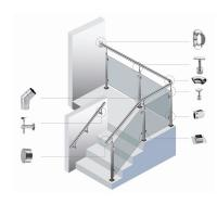 China Safe Durable Silver Stainless Steel Stair Handrail Easy To Install wholesale