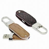China Leather Housing USB Flash Drive with Shiny Keyring Attached, Customized Colors are Welcome  wholesale