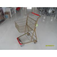 China Supermarket 40 L Singel Basket Metal Shopping Cart With Wheels And Front Bumper wholesale