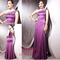 China graceful purple geometrical one shoulder beaded celebrity cocktail gowns wholesale