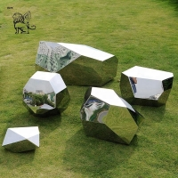 China Stainless Steel Sculpture Garden Mirror Polished Geometric Modern Abstract Art Landscape Manufacturer wholesale