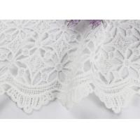 China Dubai White Bridal Embroidered Mesh Fabric By The Yard Water Soluble With Scalloped Edge wholesale