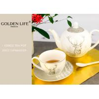 China Porcelain Tea Coffee Set Saucer Decal Technology With X Mas Elk Design Printing wholesale
