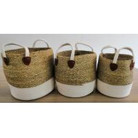 China Hot sale  storage basket S/3 with rush and cotton rope ,big organise space , storage bag, seagrass basket on sale