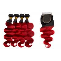 China Queen Life 1B / Red Color Brazilian Body Wave Hair 3 Bundles With Closure wholesale