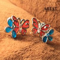 China Fashion 925 Sterling Silver Butterfly Shape Color Enamel Earring Gift Design wholesale