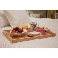 China organic bamboo wooden food serving tray with handle wholesale