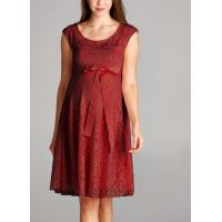 China Trendy Red Color Lace Maternity Going Out Dresses Clothes Anti - Wrinkle wholesale