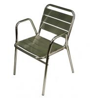 China Outdoor Full Aluminum Anodized Tubing Aluminum Dining Chair with Wide Slats wholesale