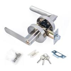 China Satin Nickel Lever Set Lock Living Room Bedroom Bathroom Tubular Door Handle Lock wholesale