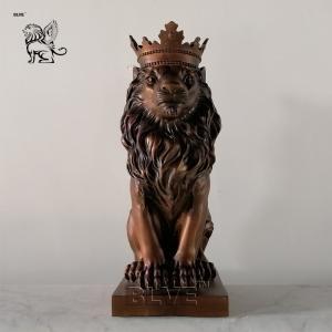 China Bronze Lion Statues Sculpture Animal Metal Statue Modern Art Artwork Small Size Home Decoration wholesale