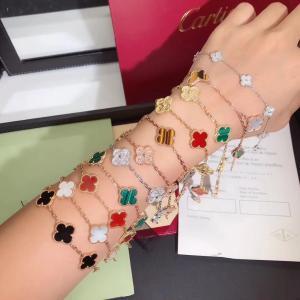 China Charming 18K Gold Van Cleef Jewelry , Vintage Alhambra Bracelet 5 Motifs van cleef copy jewelry wholesale