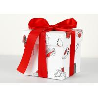 China Cardboard Decorative Xmas Boxes / 4x4x4 White Gift Boxes With Ribbon Bow wholesale