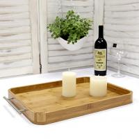 China Bamboo breakfast butler serving tray with stainless steel handles wholesale