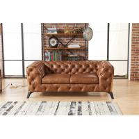 Buy cheap Light Luxury Style Europe Vintage Tan Brown 2 Seater Leather Chesterfield Sofa from wholesalers