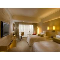 China Luxury Modern Five Star Hotel Bedroom Furniture Sets With Gold Lighting wholesale