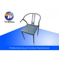 China Durable Strong Welding Rustproof Iron Dining Chairs With Back Rest wholesale