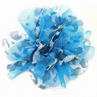 China Fashion flower brooch, made of mesh and chiffon, with brooch pin at back wholesale