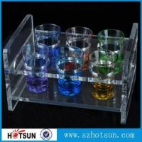 China China factory wholesale black or clear colored acrylic shot glass serving holder tray wholesale