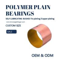 China Tin / Copper Plating Polymer Plain Bearings Guide Sleeve Bushes With Oil Holes on sale