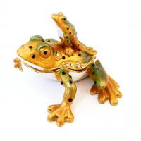 China Metal Animal Frog Jewelry Box Mother And Baby Frog Trinket Box wholesale