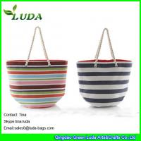 China LUDA colorful paper straw handbags striped extra large beach bags wholesale
