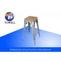 China Stackable Outdoor Metal Tolix Barstool With Wooden Seat , Metal Dining Chair wholesale