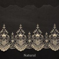 China Embroidered Cotton Mesh Nylon Tulle Bridal Lace Trim , 5.2 Inch Scalloped Lace Trim wholesale