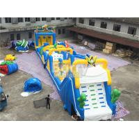 China Cheerful blue and yellow giant Inflatable Obstacle Course Rental with basketball shooting wholesale