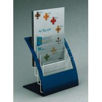 China 4 Tier Brochure / Book Acrylic Stationery Holder With Bule Support wholesale