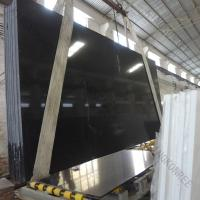 Pure Black Quartz Slabs For Sale Standard Size 3000