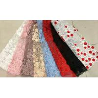 China Floral Multi Colored Lace Fabric Beaded Embroidered Mesh Fabric For Fashion Show on sale
