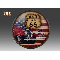 China Route US 66 Wooden Wall Plaques Round Wood Wall Hanging Signs Antique Pub Sign wholesale