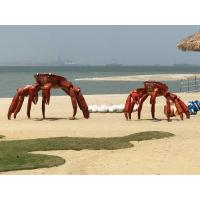 China Art Animal Crab Metal Sculpture Painted Color Surface As Outdoor Beach Decoration wholesale
