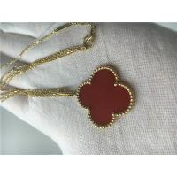 China LongVan Cleef Arpels 18K Gold Necklace With Red Flower Shape No Diamond wholesale