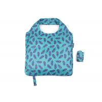 China 190 T Eco Friendly Foldable Reusable Shopping Bags Blue Nice Leaf With Logo Tag And Botton on sale