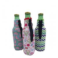China Sublimation Printing Neoprene Single Beer Bottle Cooler with zipper for Promotion Gift size is 19cm*6.3cm, SBR material. wholesale