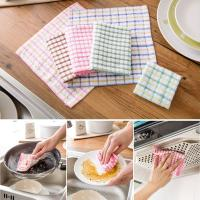 China Pink / Blue British Grid Kitchen Tea Towels , 27 × 27cm Hand Towels For Kitchen  wholesale