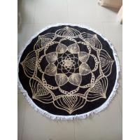 China Custom Reactive Printed Cotton Circle Beach Towel Round with fringe tassels wholesale