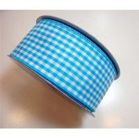 China Durable Gingham Wired Ribbon Blue / Brown / Purple Color Double Face wholesale