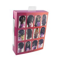 China Rainbow Hair Extension Paper Box With Customized Size And Clear Window wholesale