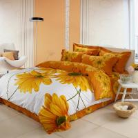 China Luxury Yellow Polyester Bed Sets , Microfiber Polyester Cotton Quilt Covers Sets wholesale