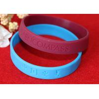 China Lettering Debossed Silicone Wristbands , Rubber Promotional Bracelets Smooth Edge wholesale