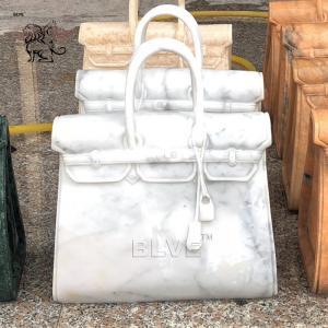 China White Carrara Marble bag Sculpture Natural Stone Famous Brand Bag Morden Art Home Decor wholesale