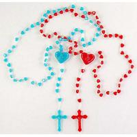 China cheap plastic beads religious or christain jewelry,acessories,products, roasry necklace with cross pendant on sale