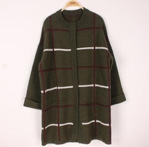 China Plus Size Womens Wool Sweaters Rib Crew Neck Long Stripe Cardigan Knitwear Supply wholesale