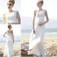 China tulle european beach dresses,  charming beach dresses with one shoulder wholesale
